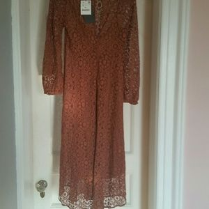 Zara Brown Lace Dress